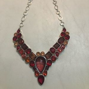 Red stones & Silver necklace